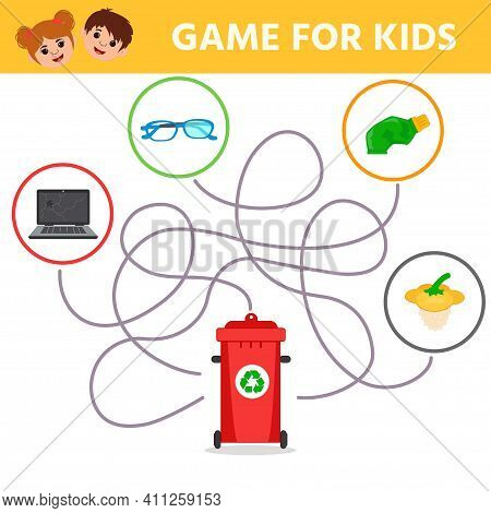 Eco Educational Game For Kids. Labirint. What Trash Will End Up In The Container. Waste Sorting For