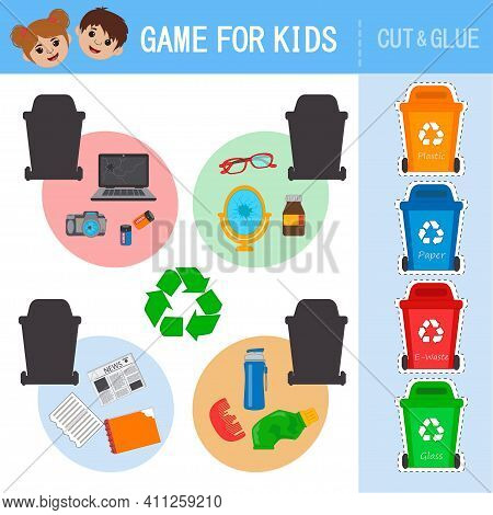 Eco Educational Game For Kids. Sorting Of Garbage, Separate Collection Of Waste In Garbage Cans. Was