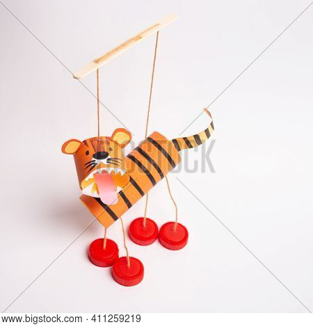 Diy Tiger Toilet Paper Roll Craft For Kid And Kindergarten, Year Of The Tiger Craft, Marionette From