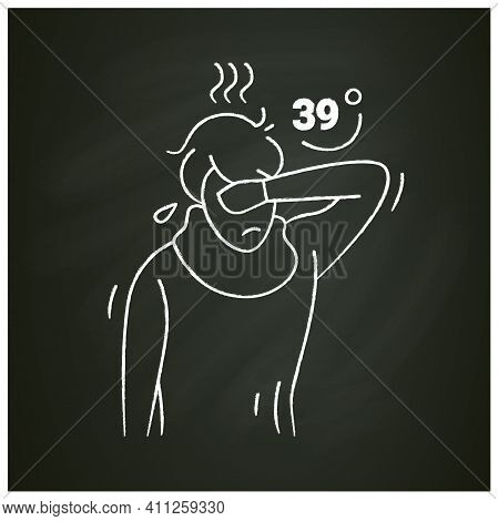 High Temperature Chalk Icon .character Has A High Temperature. Person Goes Hot.high Body Temperature
