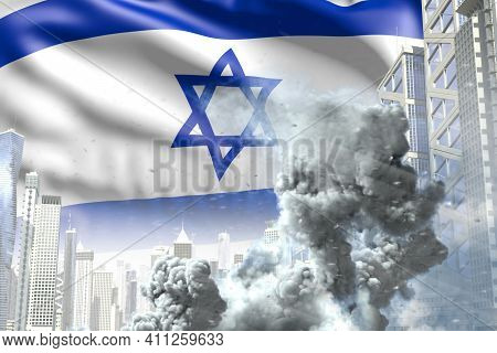 Large Smoke Column In Abstract City - Concept Of Industrial Disaster Or Terroristic Act On Israel Fl
