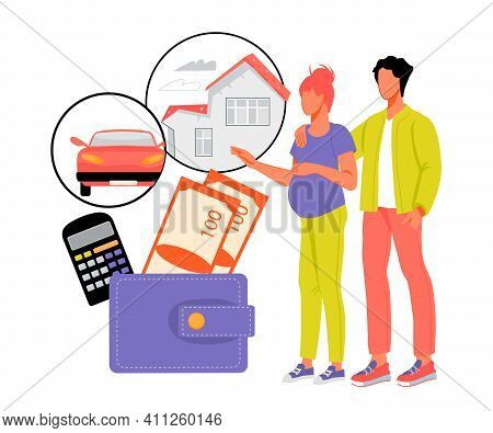 Family Budget Planning With Young Couple Expecting Child. Family Savings For Future Purchases, Incom