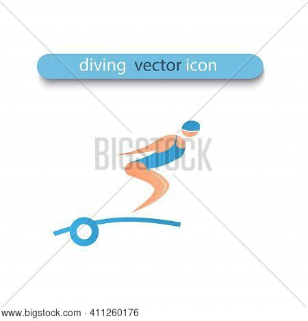An Athlete Jumps From Diving Board Into The Water. Woman Is Tacked And Is Going To Dive. Vector Flat