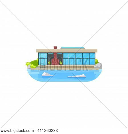 House Or Home Building At Water, Villa Mansion Or Private Cottage, Vector Icon. Residential House At