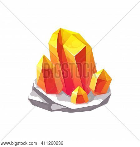 Crystal Gem Or Gemstone Jewel And Glass Rhinestone, Vector Diamond And Jewelry Isolated Icon. Yellow