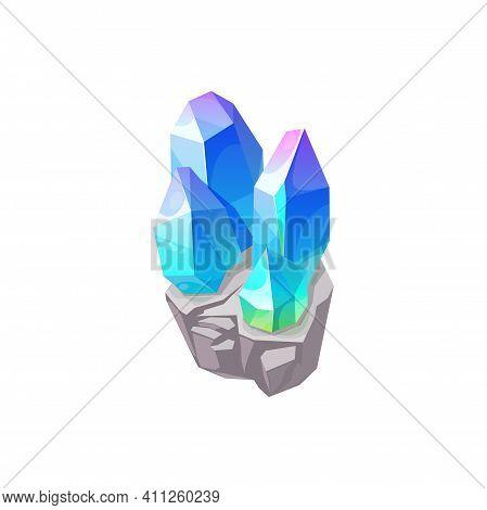 Crystal Gem, Gemstone Jewel Glass Or Blue Purple Rhinestone, Vector Isolated Icon. Crystal Gem Of Sa