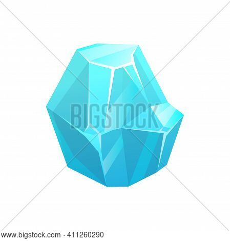 Ice Crystal Rock Of Iceberg, Frozen Snow Or Glacier Icicle, Vector Isolated Icon. Blue Glass Block O