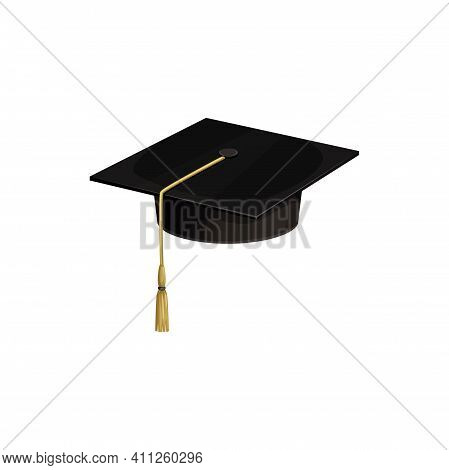 Cap Hat Of University Academic Student, Vector Icon, College Or School Graduate Education Isolated S