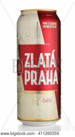 Lviv, Ukraine - May 25, 2020: Zlata Praha Czech Beer In A Jar On A White Background