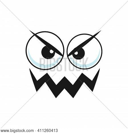 Wicked Popped-eyed Smiley With Curved Mouth Isolated Cartoon Character. Vector Angry Emoticon, Evil