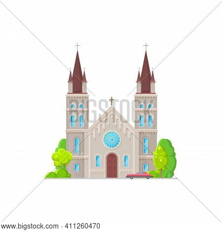 Catholic Church Building Vector Icon. Medieval Cathedral With Gothic Steeples, Arch And Rose Windows