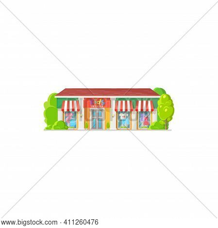 Store Facade Exterior, Kids Fashion Clothing Shop Flat Cartoon Design Isolated Icon. Vector Fashion