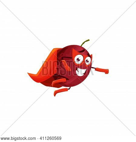 Plum Fruit Superhero Cartoon Character, Vector Fruits Food In Super Hero Costume And Mask. Plum Frui