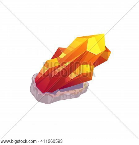 Topaz Orange Yellow Mineral Isolated Natural Precious Stone In Rock. Vector Mineralogy Symbol, Cryst