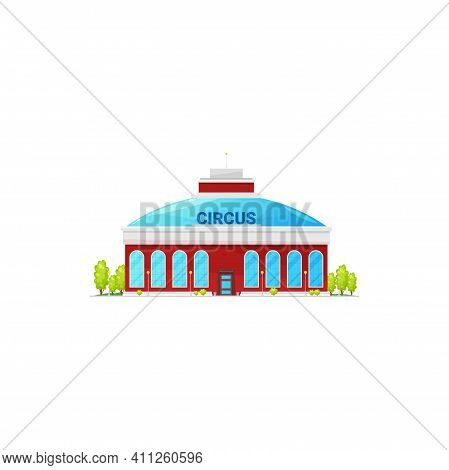Red Citrus Building Facade Exterior Isolated Chapiteau Building Cartoon Icon. Vector Entertainment I