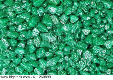 Emerald Green Gemstone Pattern. Glitter Semiprecious Stones For Decoration, Flat Lay, Top View Backg