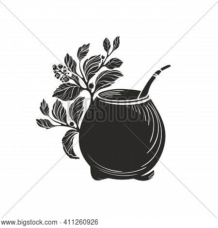 Yerba Mate With Calabash Bowl. Black Symbol. Vector Shape Of Nature Branch, Leaves, Texture Cup. Art