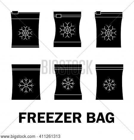 Set Of Vector Frozen Food Bag. Freeze Bag. Containers And Bags For Food Semi-finished Products Froze