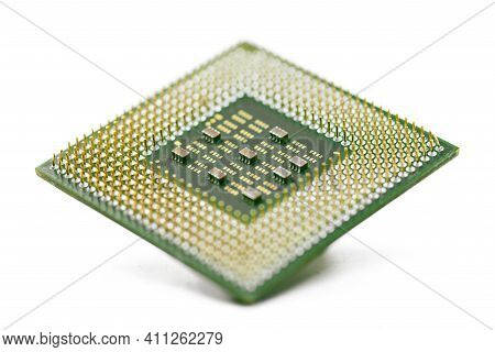 Cpu, Central Processor Unit, Isolated Background. Main Electronic Circuitry For Computer. Shallow Do