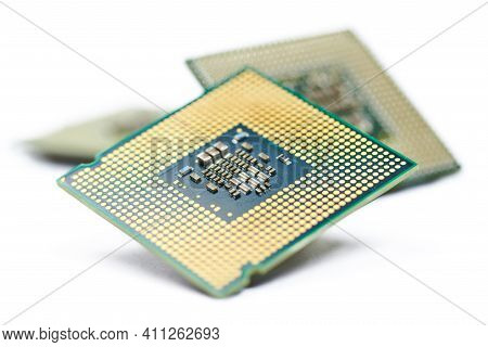 Cpu, Central Processor Unit, Isolated Background. Bunch Of Main Electronic Circuitry For Computers.