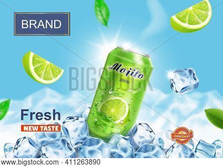 Lime Juice Drink Advertising. Refreshing Mojito Ads Aluminium Can In Ice Cubes On Snow Mountains Bac