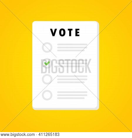 Vote Form Banner. Voting Bulletin. Election Concept.vector On Isolated Background. Eps 10.
