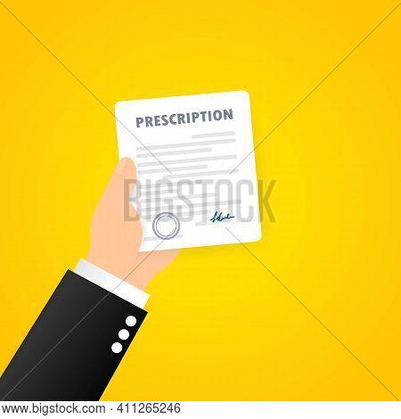 Prescription. Painkiller Medication Doctor Prescription. Pharmaceutical Industry, Therapy Drugs. Vec