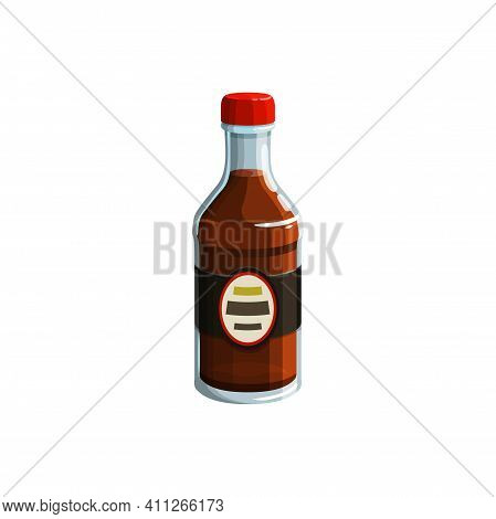 Glass Bottle Of Soy Sauce Isolated Japanese Cuisine Food Realistic Icon. Vector Oriental Cuisine Ing