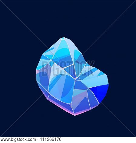 Blue Magic Crystal Gem, Vector Icon, Jewel Rock Mineral Stone. Isolated Natural Turquoise Gemstone Z