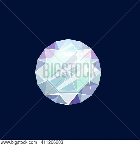 Gem Stone, Faceted Diamond Or Magic Crystal Vector Icon. Lilac Or Turquoise Rock, Mineral Of Round S