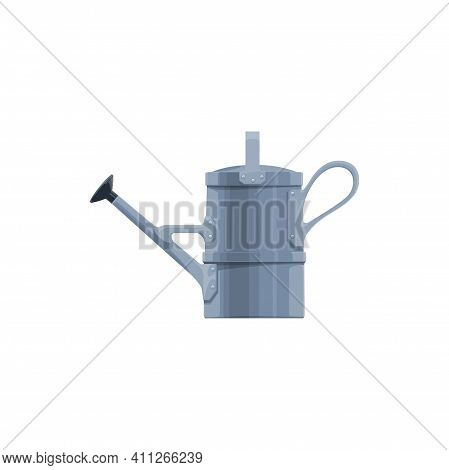 Garden Watering Can Vector Icon. Old Metal Pot For Gardening Works. Farming Instrument, Equipment Fo