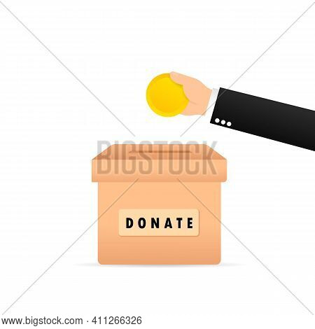 People Throw Gold Coins Into A Box For Donations. Coins In Hand. Donation Box. Sonate, Giving Money.