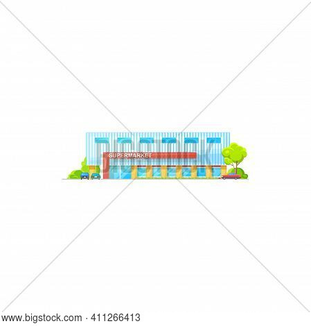 Supermarket Building, Grocery Store Mall Icon, Vector Shop Trade Center Or Hypermarket. Supermarket
