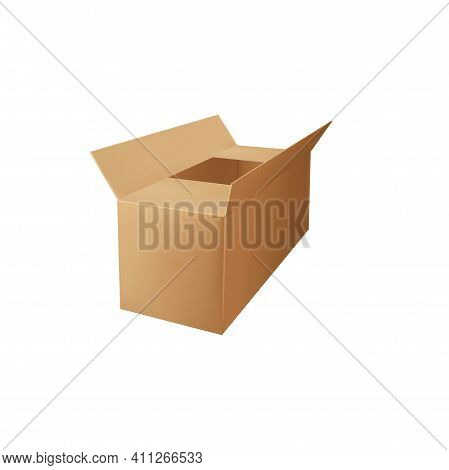 Crate Paper-box Isolated Open Container Top View. Vector Mockup Of Warehouse Container To Put In Obj