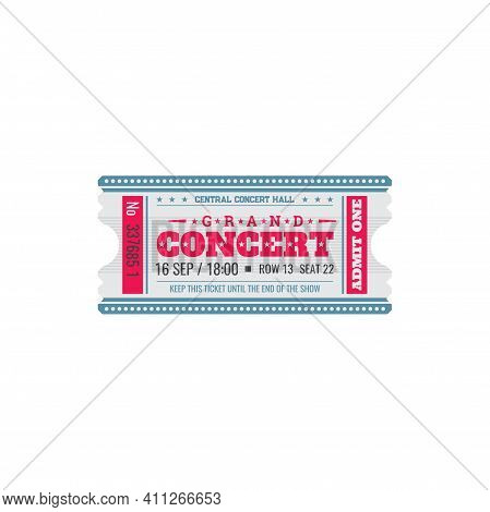Full Ticket To Central Music Hall Isolated Coupon Card. Vector Admit On Live Music Play Performance,