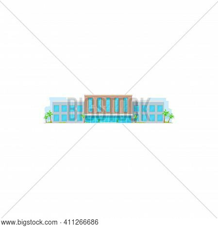 Facade Of Governmental Building, Municipal Construction Isolated Business Center. Vector Urban Comme