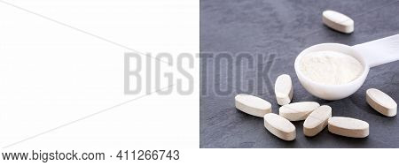 Collagen Powder, Proline And Msm (sulfur) Capsules. Supplements To Support Collagen Production.