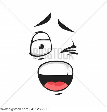 Cartoon Smiling Face, Vector Emoji With Wink Eye And Open Mouth. Happy Facial Expression, Flirting,
