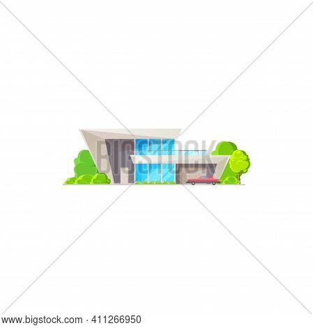 Urban Chalet, Dwelling Outdoor Facade Isolated Modern Contemporary Building With Car On Parking And