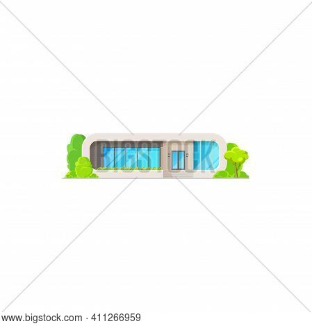 Villa Or Cottage House Isolated Icon. Vector Realistic Modern House, Log Facade, Contemporary Buildi