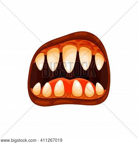 Monster Mouth Vector Icon, Creepy Zombie Or Alien Grin Or Roar Jaws With Yellow Teeth And Brown Lips