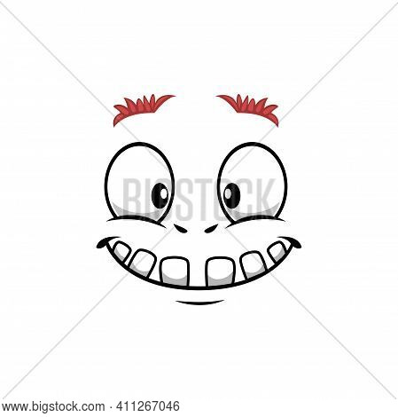 Cartoon Face Vector Icon, Funny Emoji With Toothy Smile Kind Eyes And Thick Eyebrows. Satisfied Faci