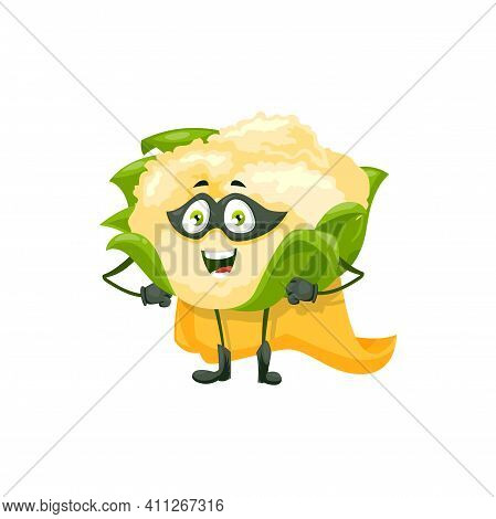 Cartoon Cauliflower Super Hero Isolated Vector Icon. Funny Vegetable In Cloak And Mask With Arms Aki