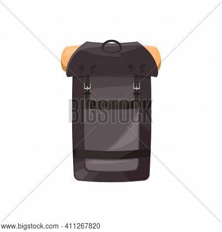 Backpack Vector Icon, Hiking Rucksack, Cartoon Touristic Camping Knapsack Equipment Of Black Color W