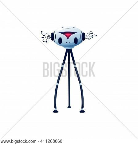 Cartoon Robot Vector Cyborg Character. Artificial Intelligence Toy Or Bot With Digital Red Glow, Fle