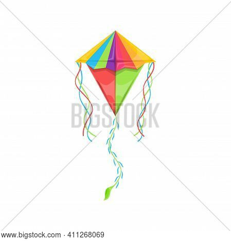 Flying Kite-balloon Of Delta Shape Isolated Rainbow Color Kids Toy. Vector Kite In Sky, Outdoor Summ