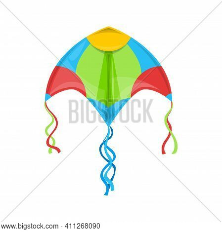 Kite Flying In Sky Isolated Outdoor Summer Activity Object. Vector Kite In Blue, Green, Yellow And R