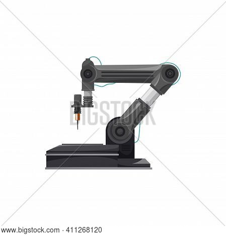 Welding Technology Automation, Robot Welder Arm Isolated Realistic Icon. Vector Welding Equipment, M