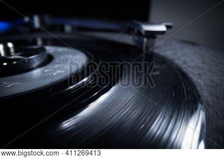 Playing A Vinyl Record - Extreme Close-up Macro Shot