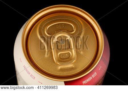 Lviv, Ukraine - May 17, 2020: Zlata Praha Czech Beer In A Tin Aluminum Can Cover